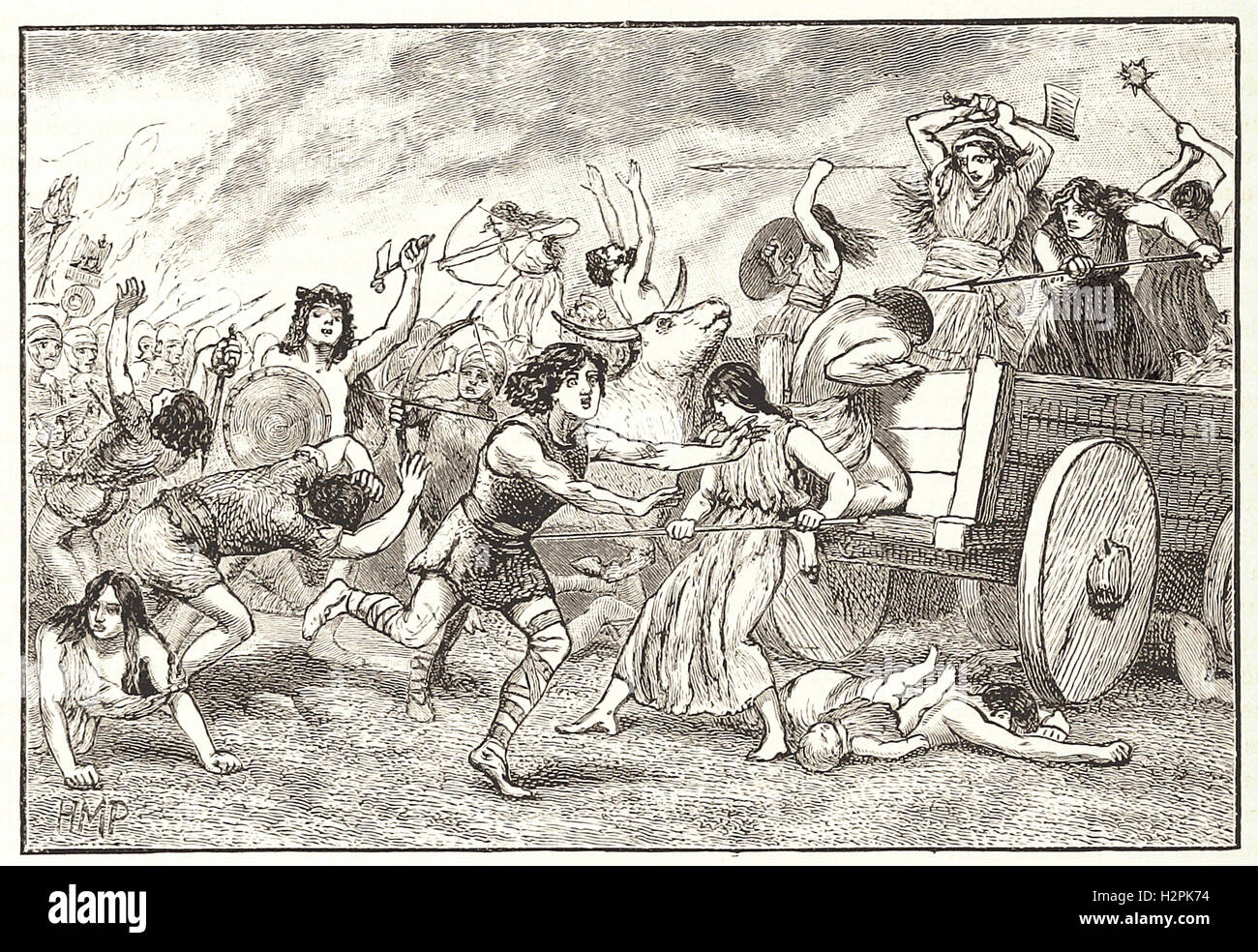 THE BATTLE OE VERECELLAE - from 'Cassell's Illustrated Universal History' - 1882 - Stock Image