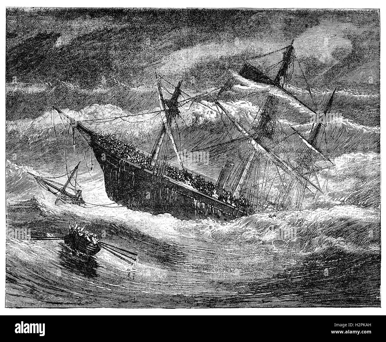 SS London was a British steamship which sank in the Bay of Biscay on 11 January 1866. The ship was travelling from - Stock Image