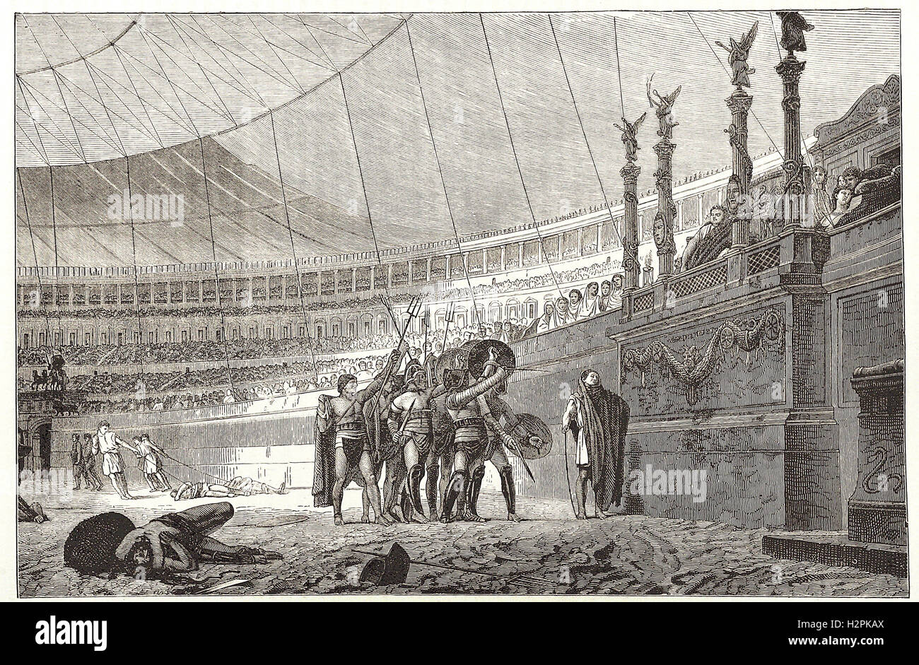 GLADIATORS SALUTING THE EMPEROR BEFORE JOINING COMBAT.- from 'Cassell's Illustrated Universal History' - Stock Image