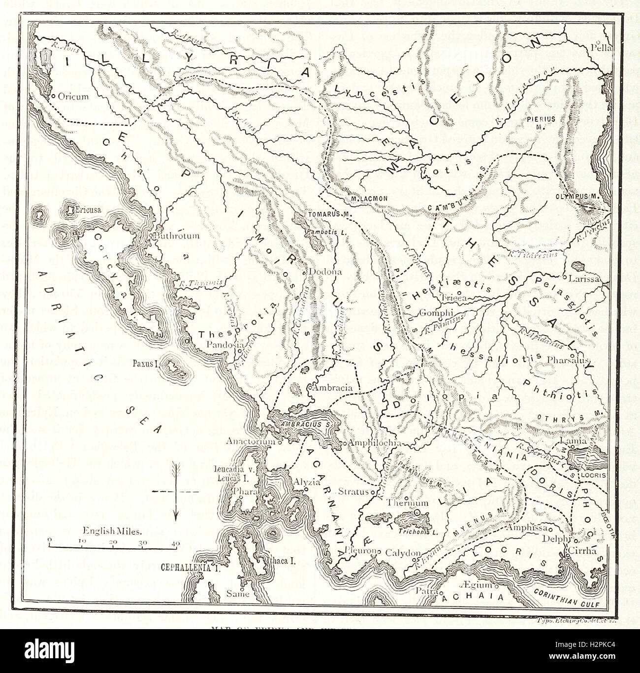 MAP OF EPIRUS AND WESTERN GREECE. - from 'Cassell's Illustrated Universal History' - 1882 - Stock Image