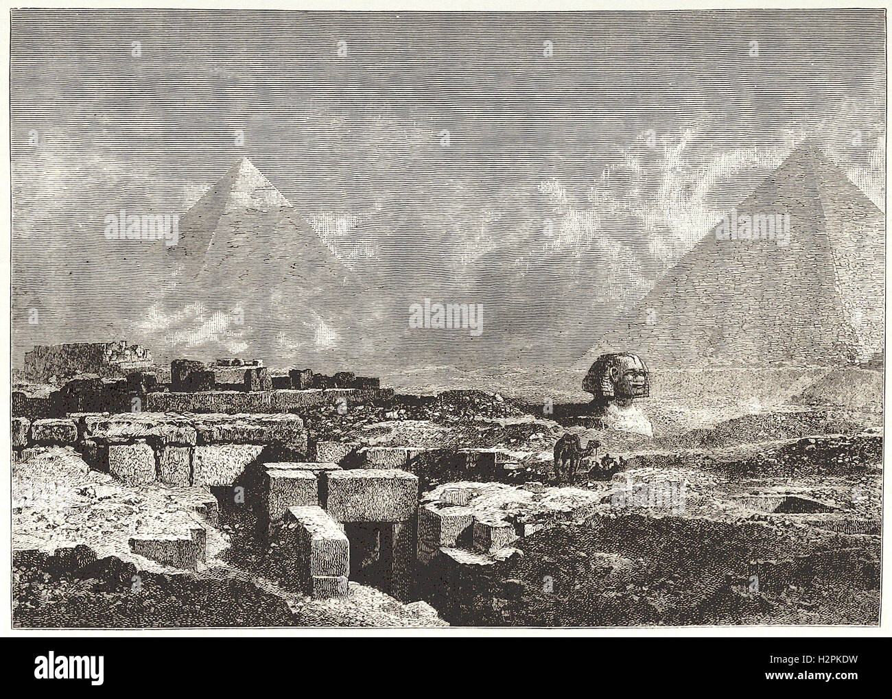 THE PYRAMIDS AND SPHINX. - from 'Cassell's Illustrated Universal History' - 1882 - Stock Image