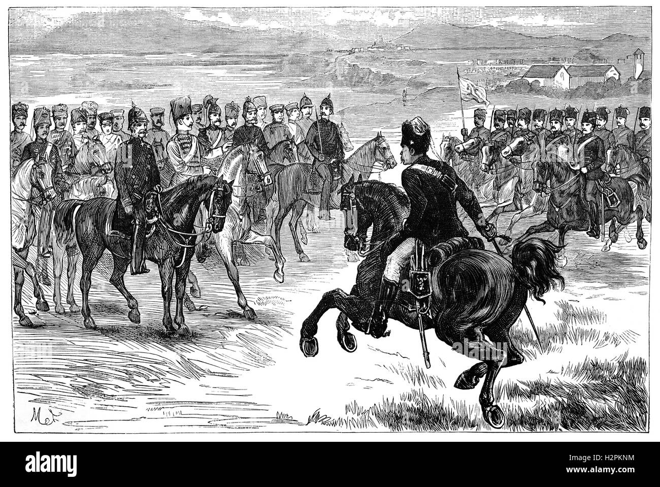 A review of the Royal Prussian Army during the time of the Wars of German unification. - Stock Image