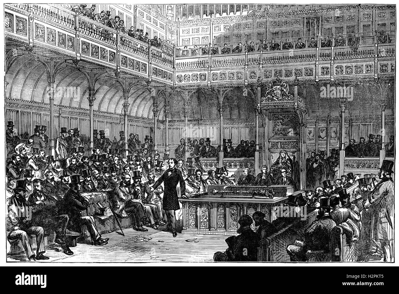 Prime Minister Benjamin Disraeli intoducing the Representation of the People Act 1867, (known informally as the Stock Photo