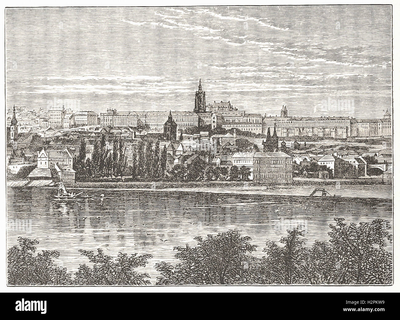 PALACE OF THE BOHEMIAN KINGS, AND CATHEDRAL OF HRADSCHIN, PRAGUE - from 'Cassell's Illustrated Universal - Stock Image