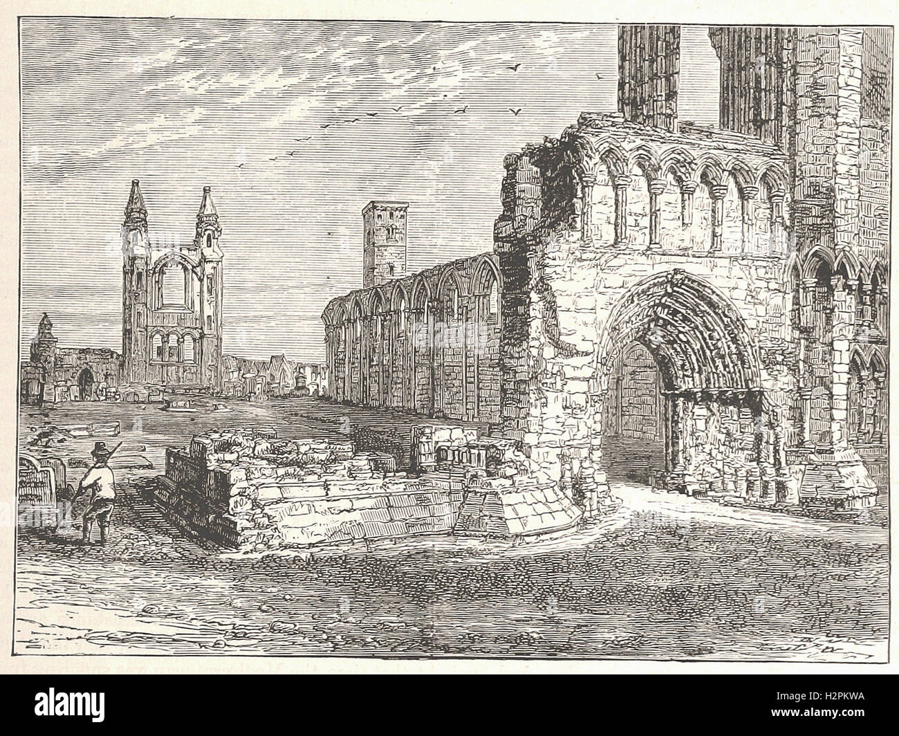 RUINS OF THE CATHEDRAL, ST. ANDREWS. - from 'Cassell's Illustrated Universal History' - 1882 - Stock Image
