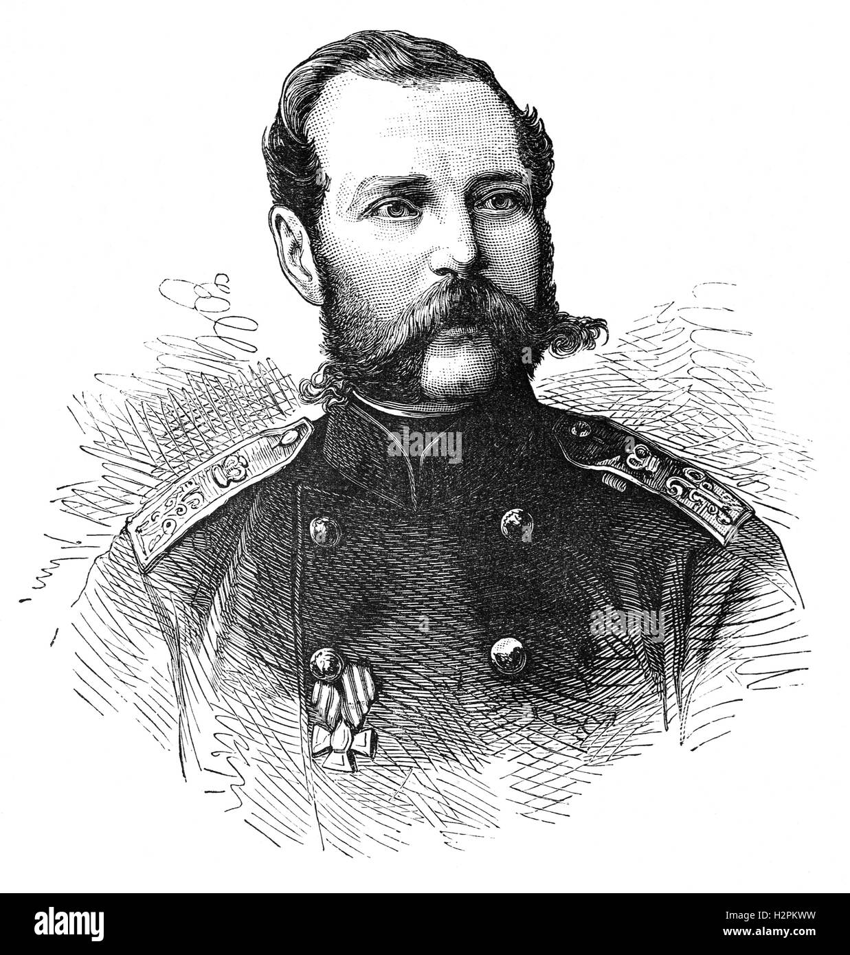 Alexander II (1818 - 1881) was Emperor of Russia from 1855 until his assassination in 1881.  His most significant - Stock Image