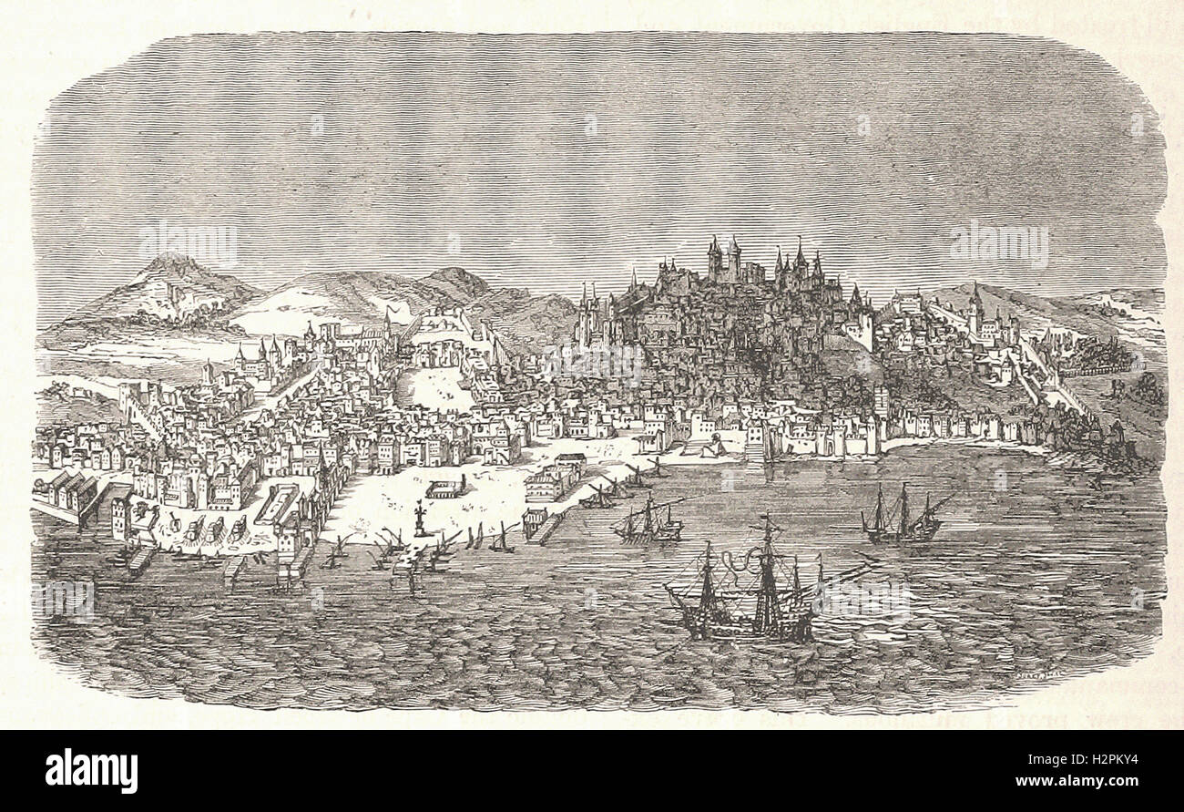 LISBON IN THE SIXTEENTH CENTURY - from 'Cassell's Illustrated Universal History' - 1882 - Stock Image