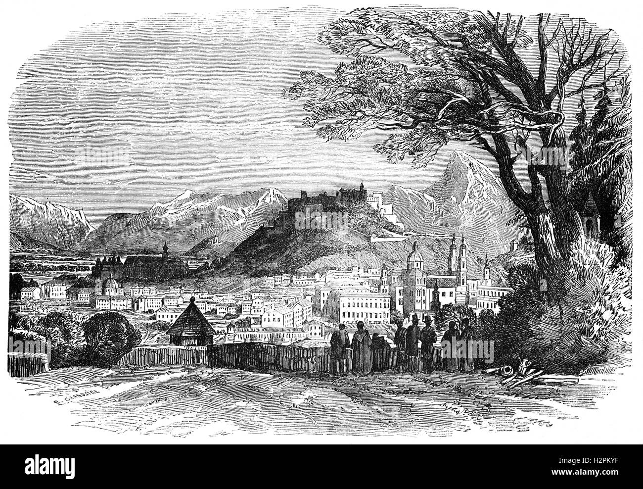 In 1850, Salzburg's status was restored as the capital of the Duchy of Salzburg, and became part of Austria - Stock Image