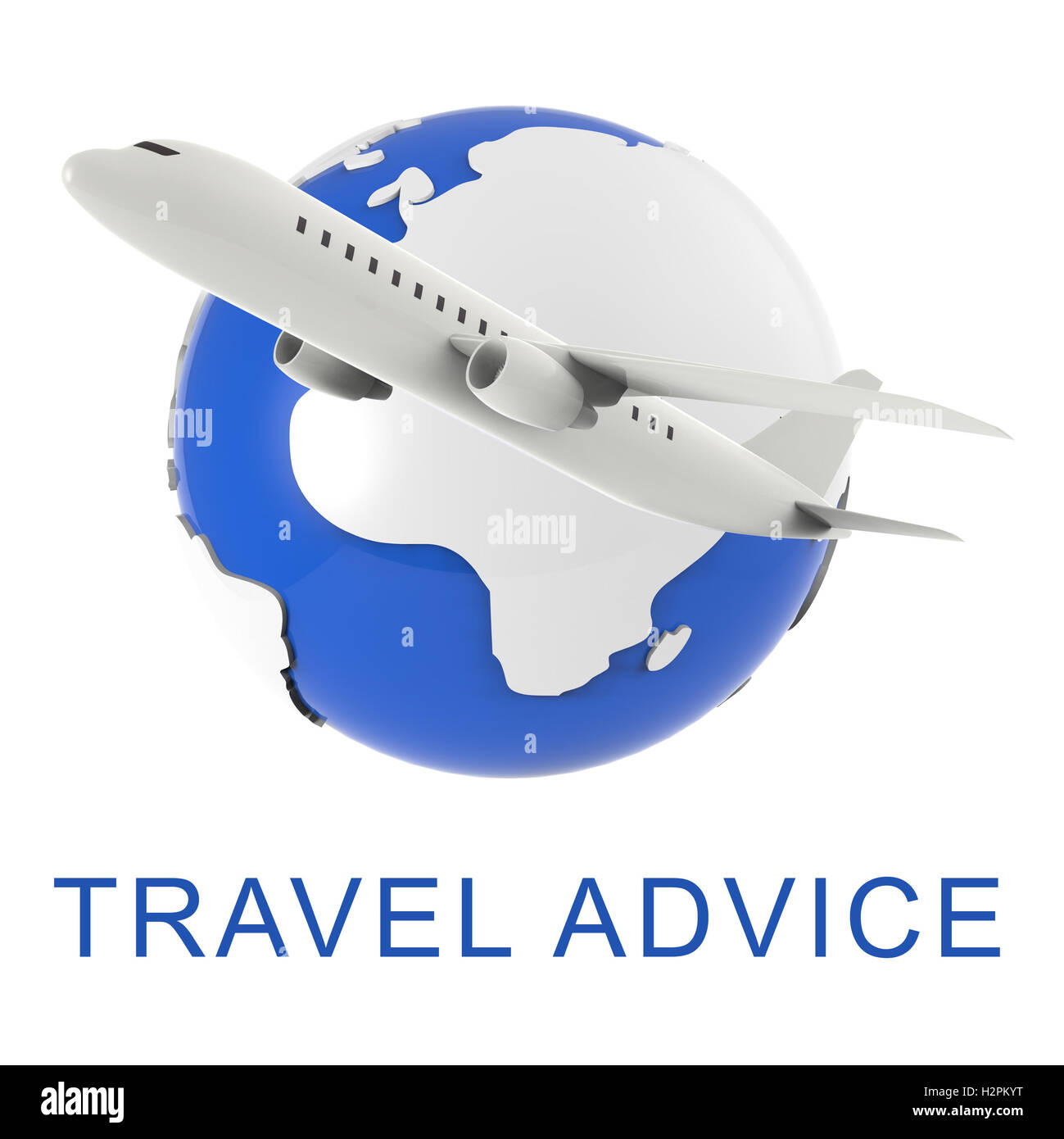 Travel Advice Globe And Plane Indicates Touring Guide 3d Rendering - Stock Image