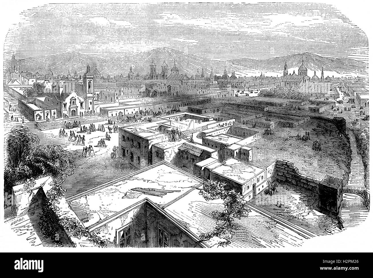 19th Century aerial view of Mexico City, or the City of Mexico, the capital and most populous city of the Americas - Stock Image