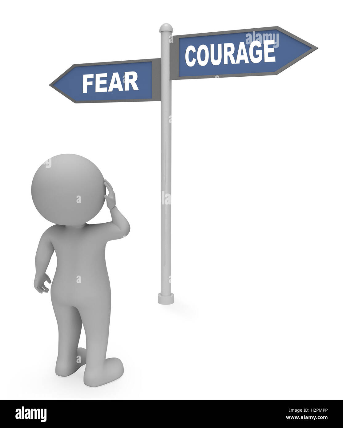 Character Looking At Fear Courage Sign Indicates Terror Or Bravery 3d Rendering Stock Photo