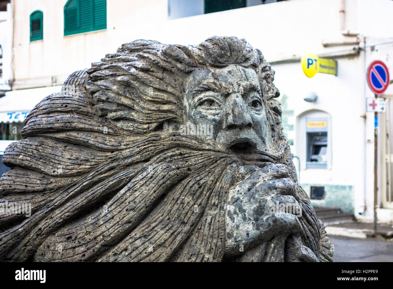 Statue made of volcanic rock on the Island of Vulcano, Italy Stock Photo