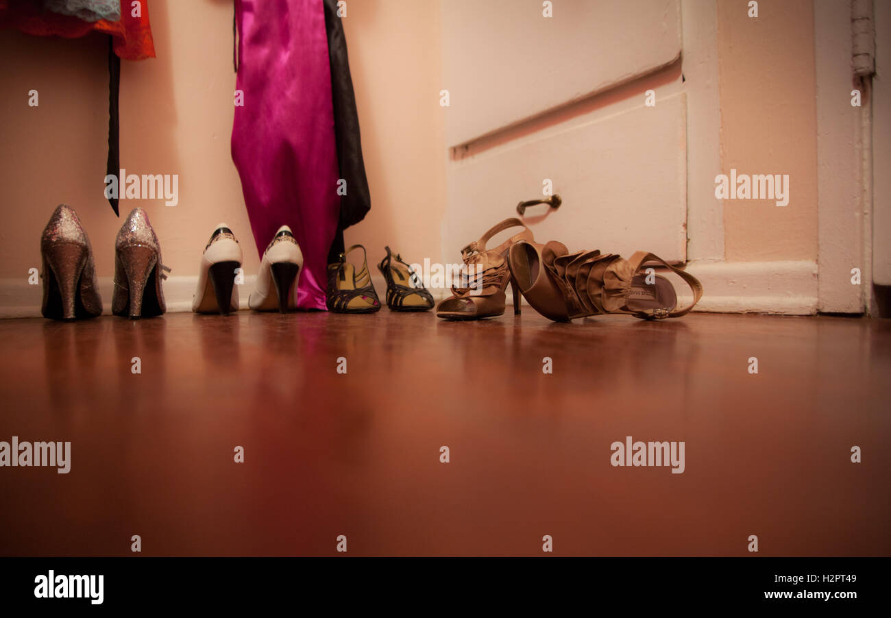 High Heeled Shoes, Dressing Room Floor   Stock Image