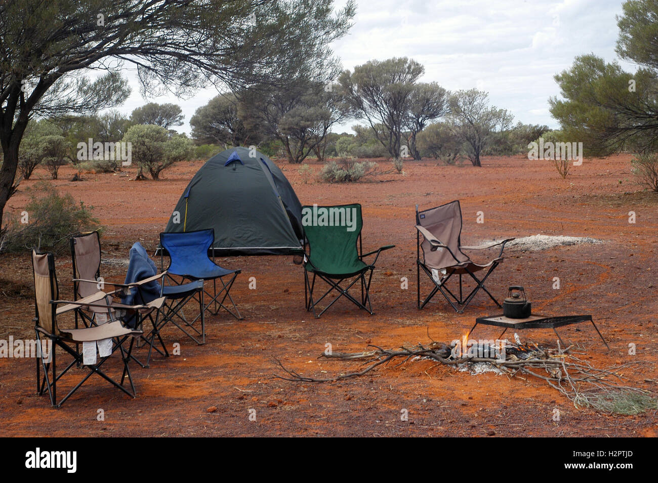wilderness camping in the Australian bush Stock Photo