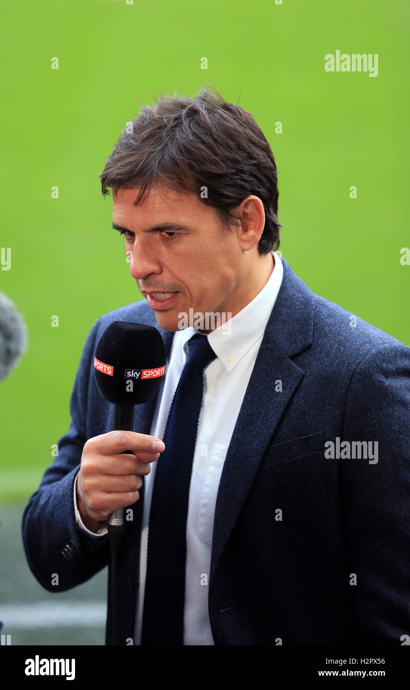 Wales manager Chris Coleman working as a TV pundit for Sky Sports during the Premier League match at the Liberty Stock Photo