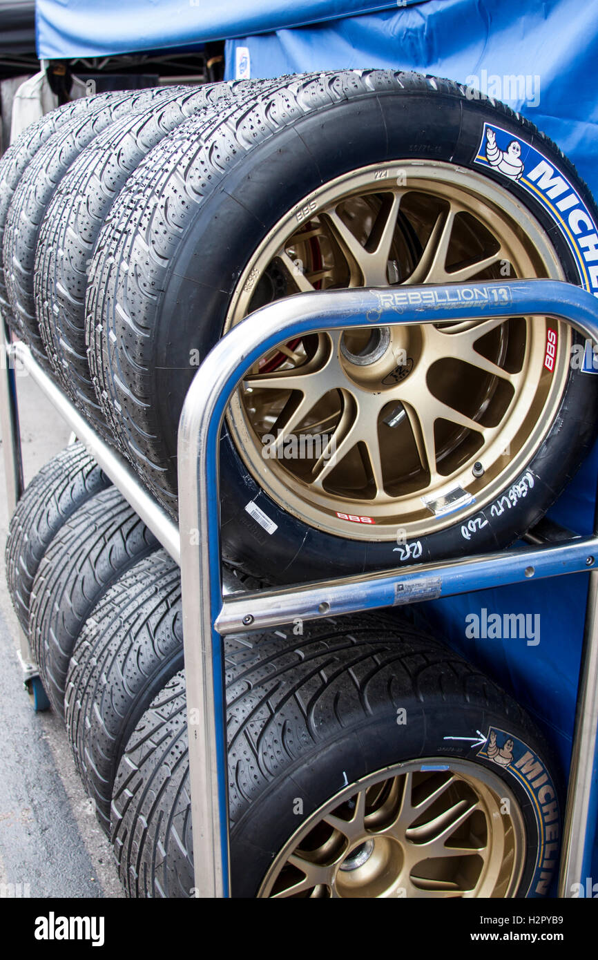 Tires on a Rack at The Circuit of the Americas Stock Photo