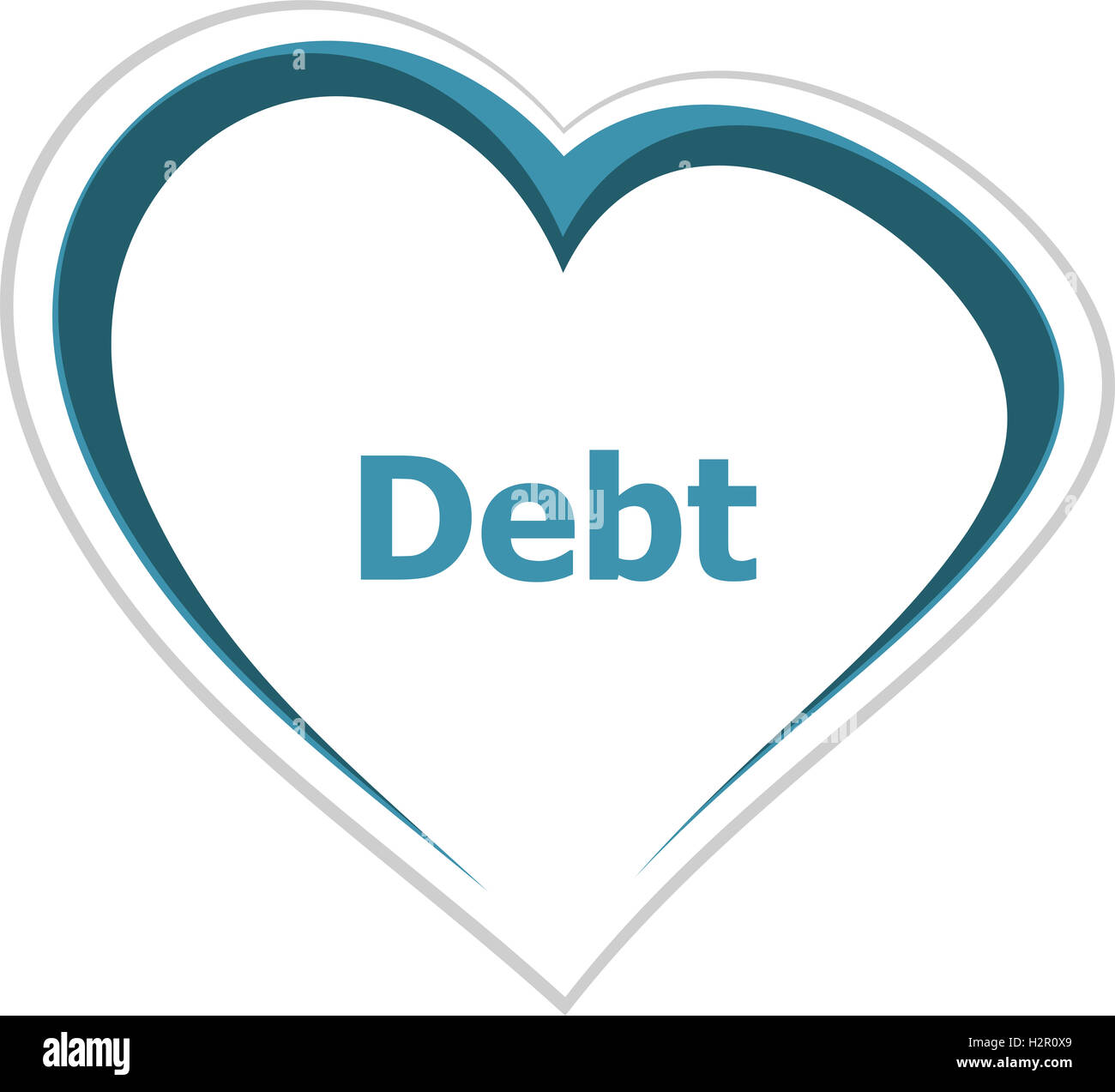 marketing concept, debt word on love heart - Stock Image