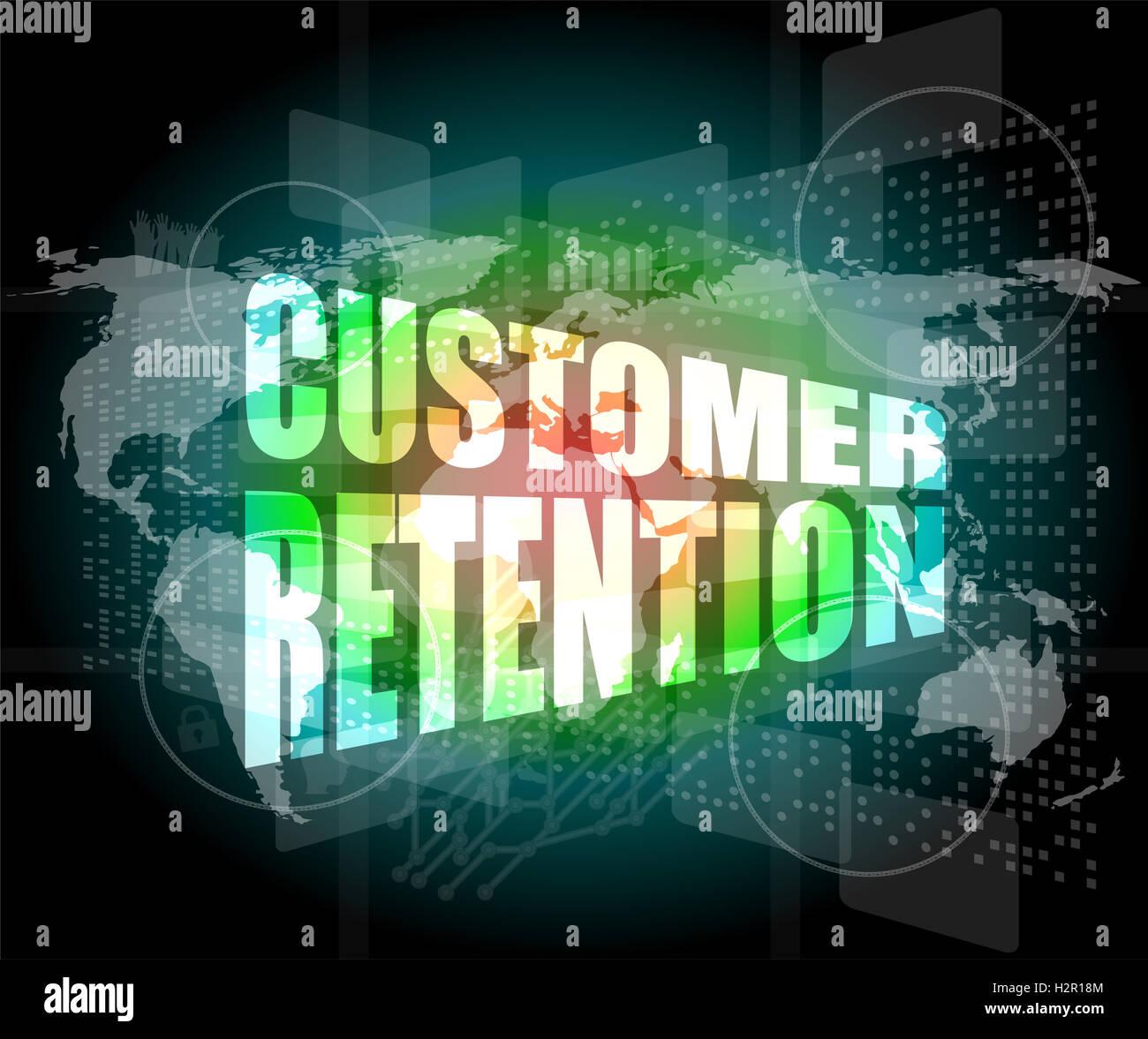 customer retention word on business digital screen - Stock Image