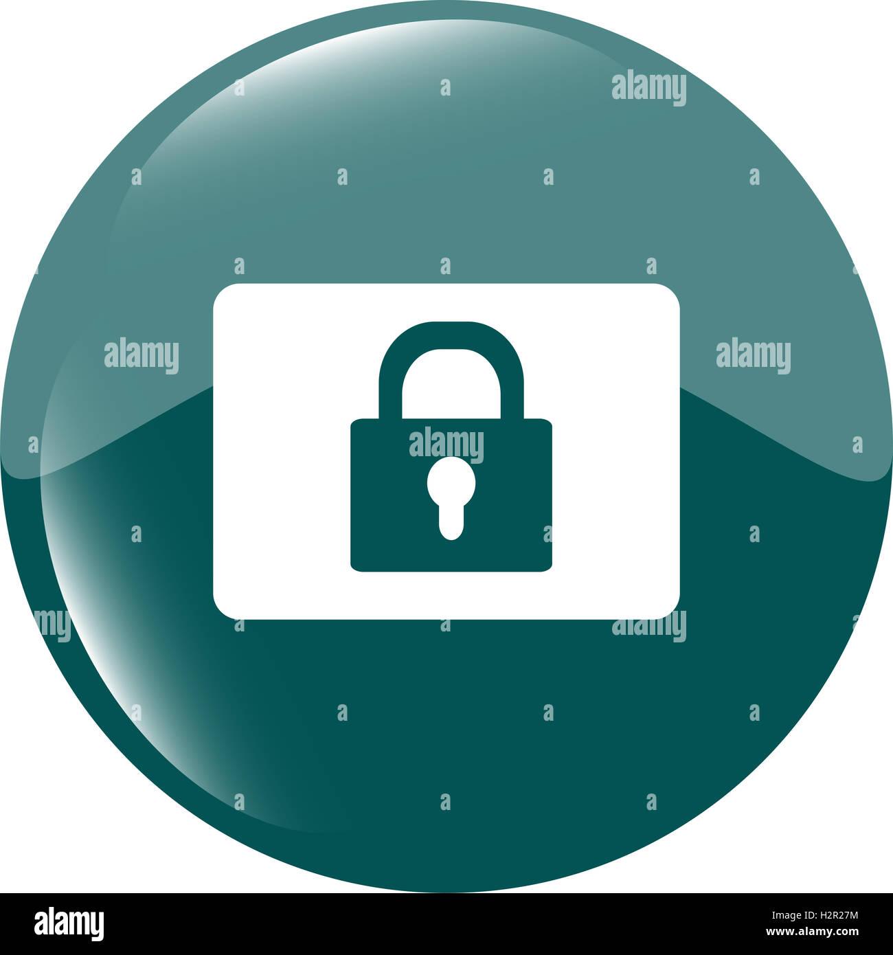 closed padlock icon web sign isolated on white - Stock Image