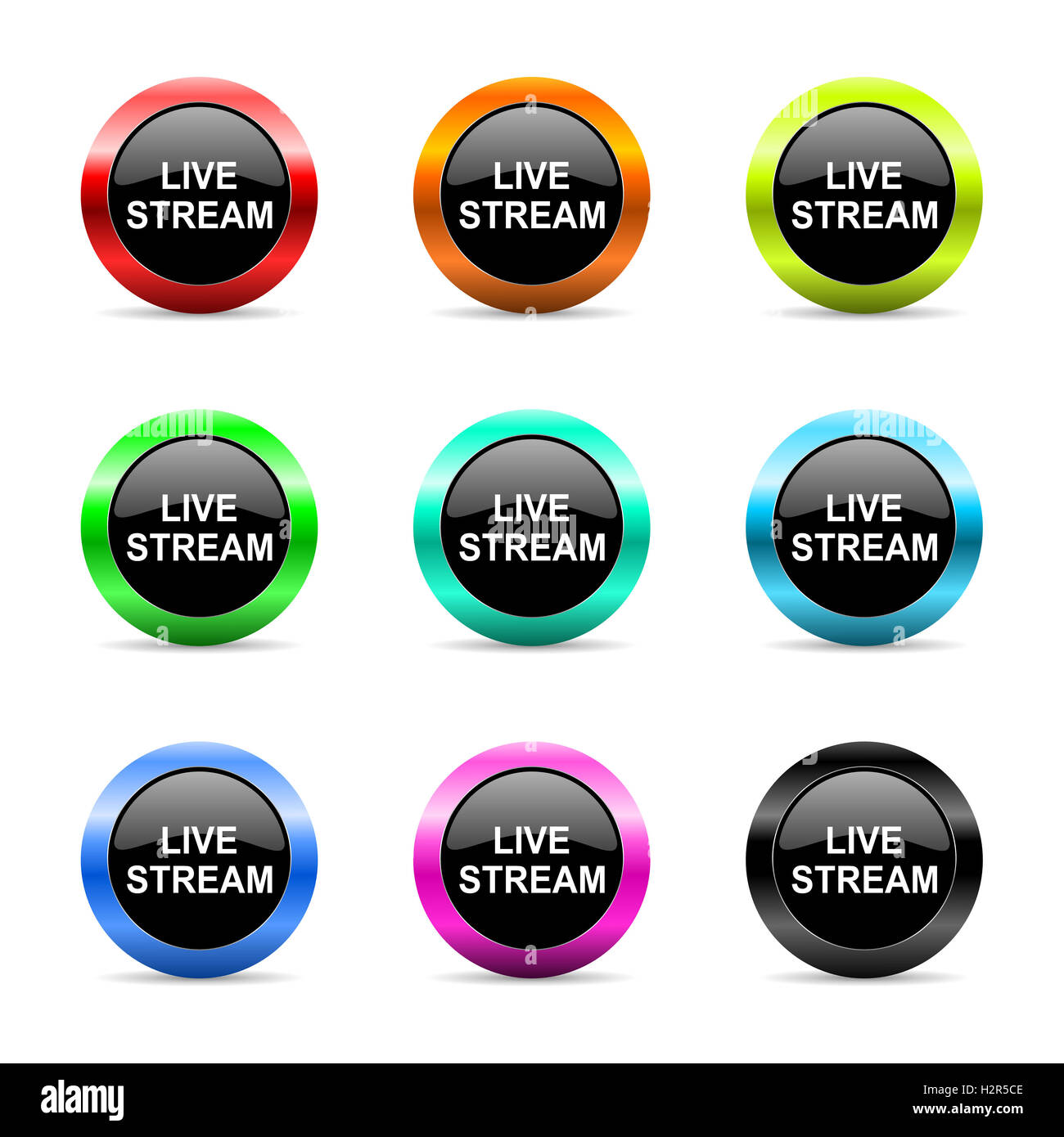 live stream web icons set - Stock Image