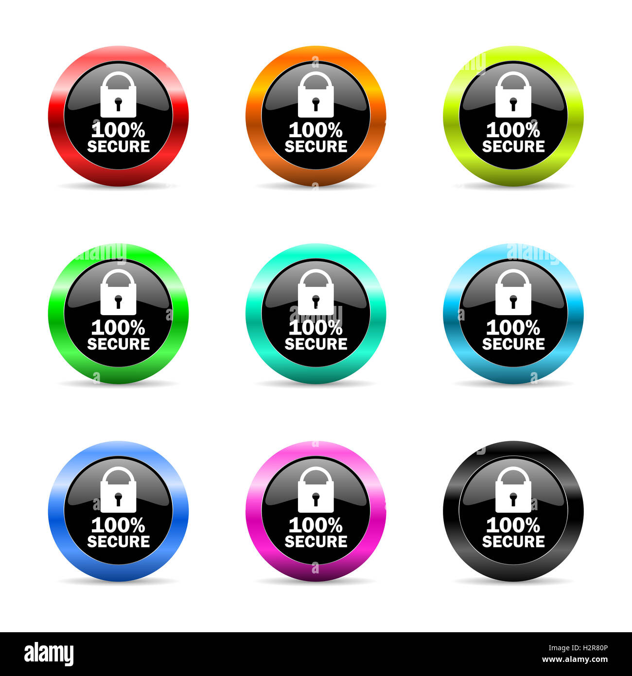 secure web icons set - Stock Image