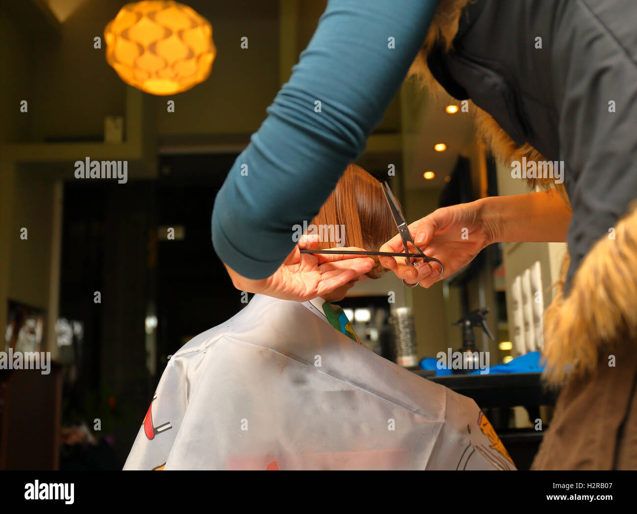 First haircut of kid in professional  barbershop - Stock Image
