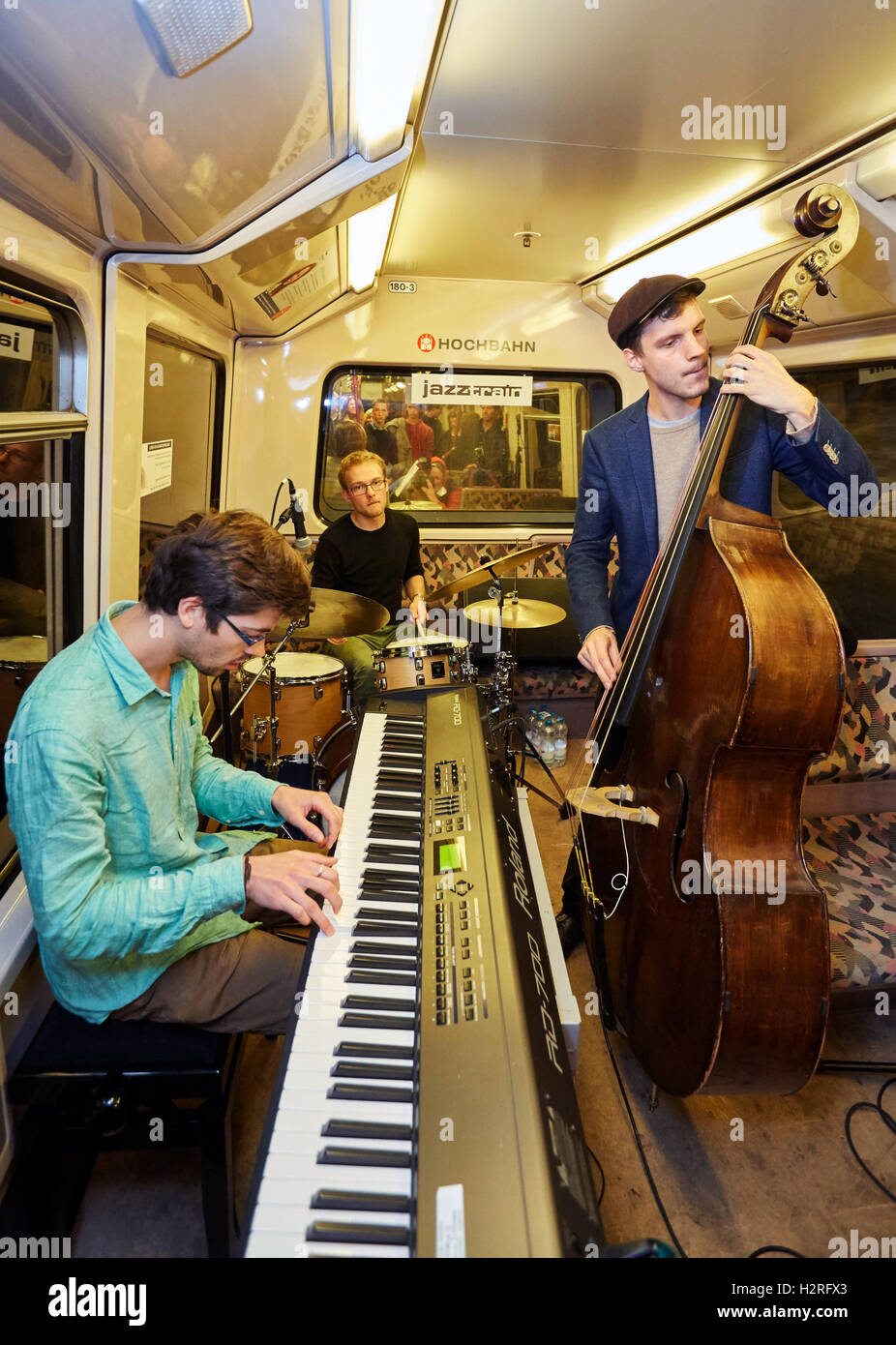 The Guerilla Jazz Trio with Bela Meinberg on the keyboard Stock