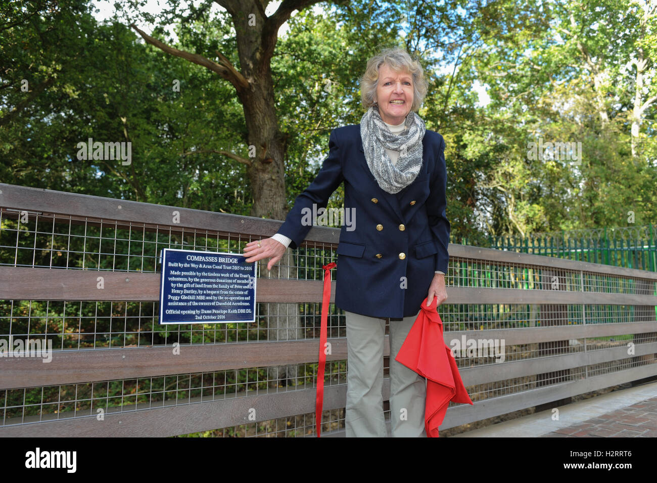 Actor Dame Penelope Keith unveils a commemorative plaque on behalf of the Wey & Arun Canal Trust during the - Stock Image