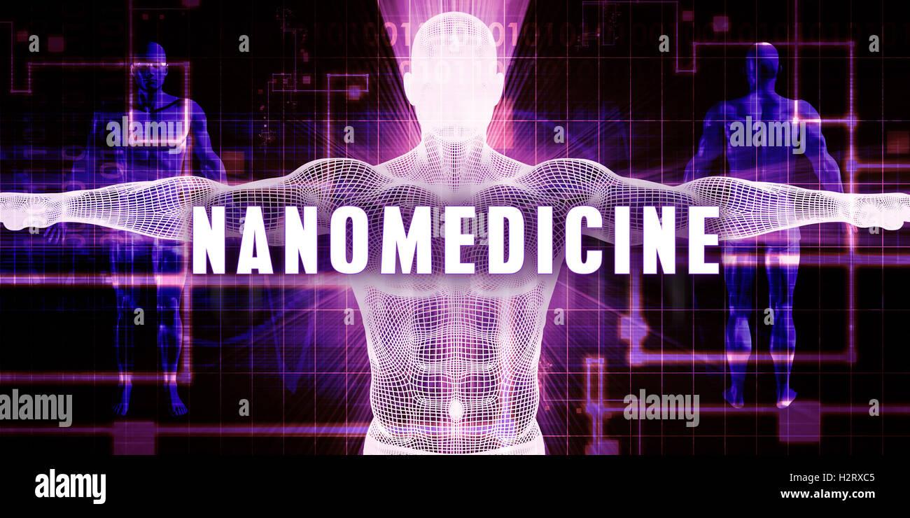 Nanomedicine as a Digital Technology Medical Concept Art - Stock Image