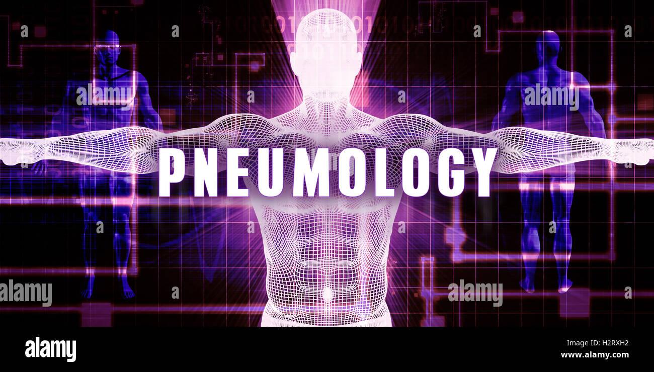 Pneumology as a Digital Technology Medical Concept Art - Stock Image