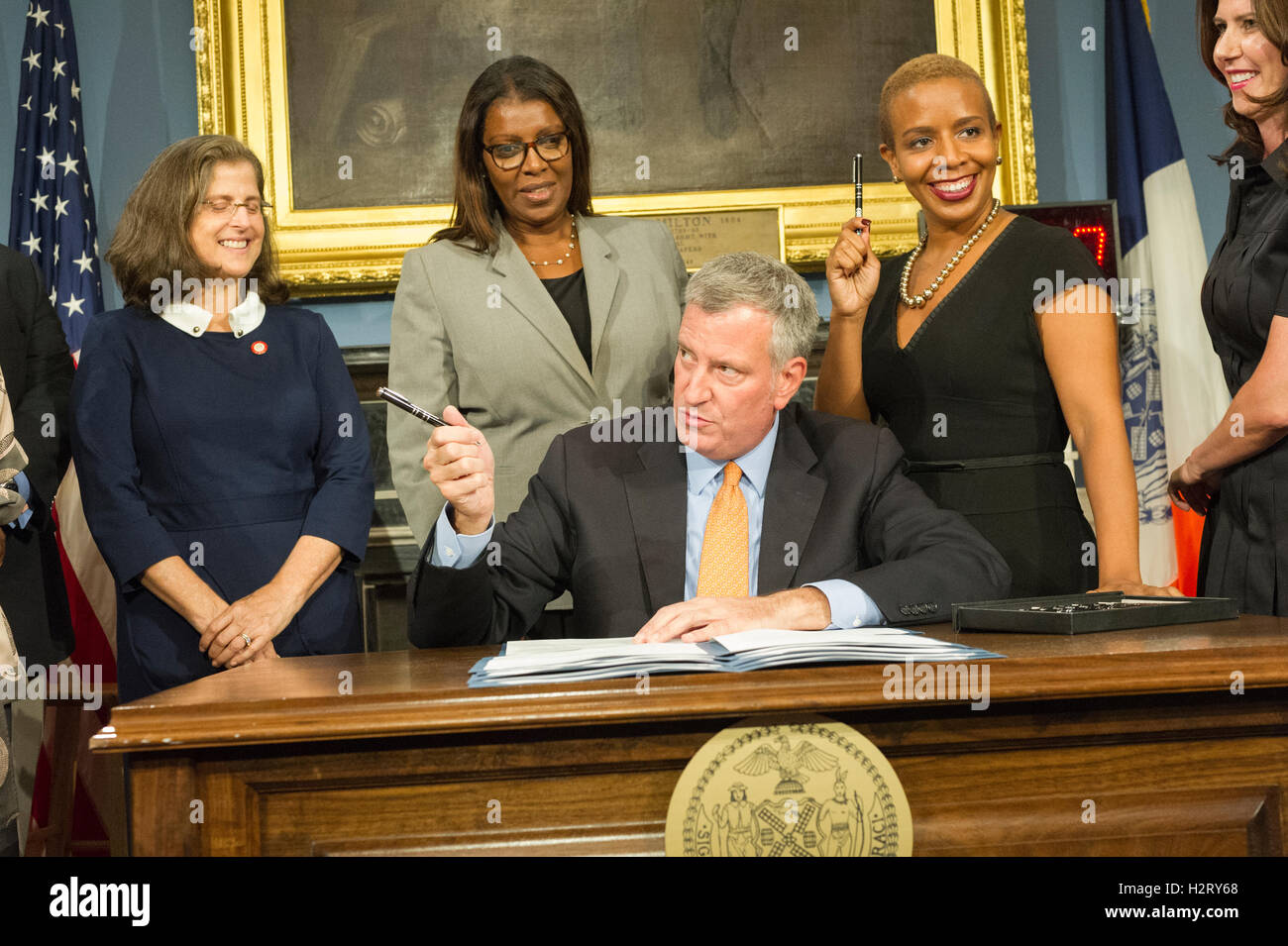 New York Mayor Bill de Blasio, at a bill signing related to increasing accountability and access for the New York's - Stock Image