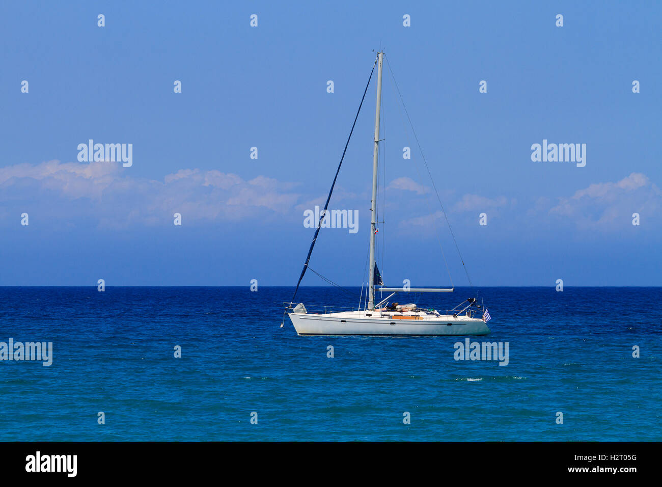 Saling boat in the Ionian sea in Greece - Stock Image