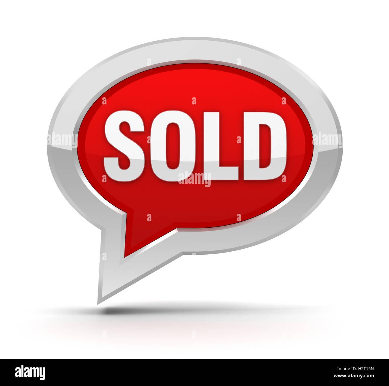 sold concept 3d illustration - Stock Image