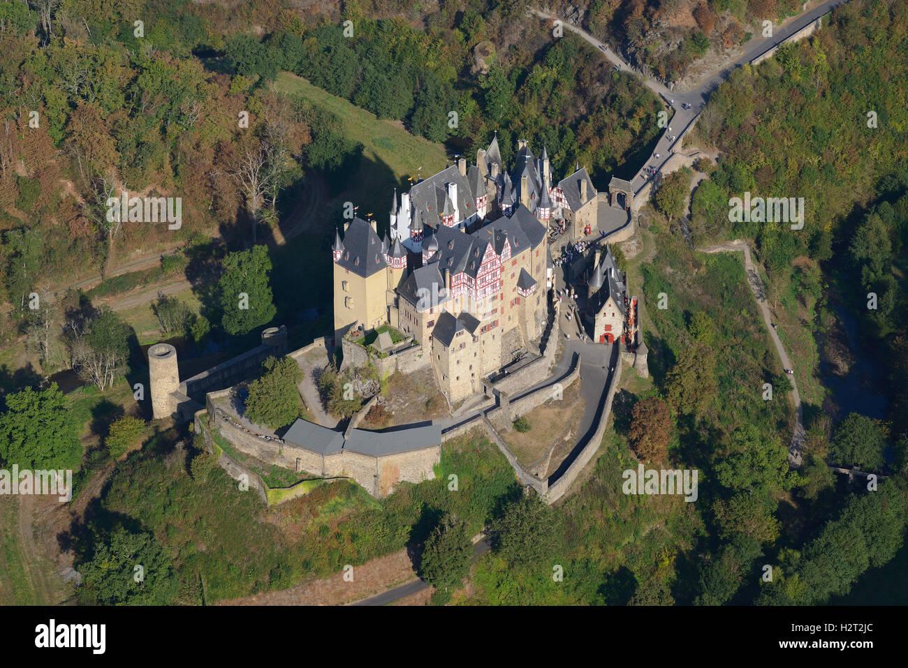 ELTZ CASTLE (aerial view). Rhineland-Palatinate, Germany. Stock Photo