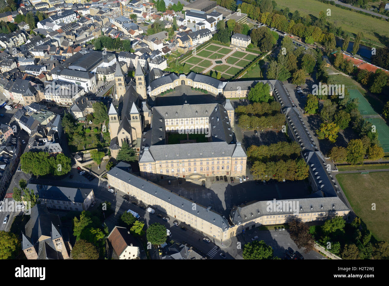 ECHTERNACH ABBEY (aerial view). District of Grevenmacher, Luxembourg. - Stock Image