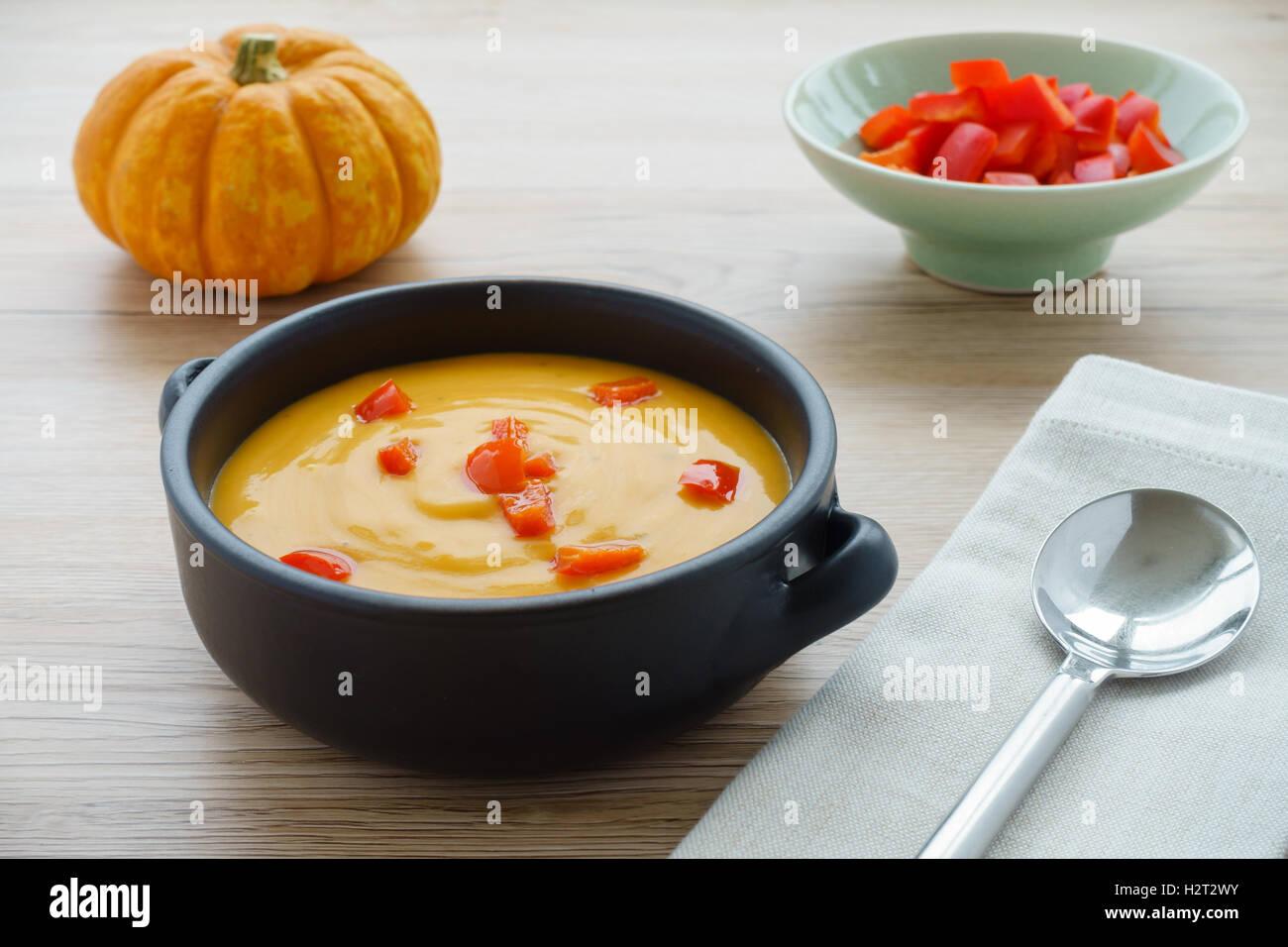 Pumpkin Soup, Sea Salt Flakes and Munchkin Pumpkin - Stock Image