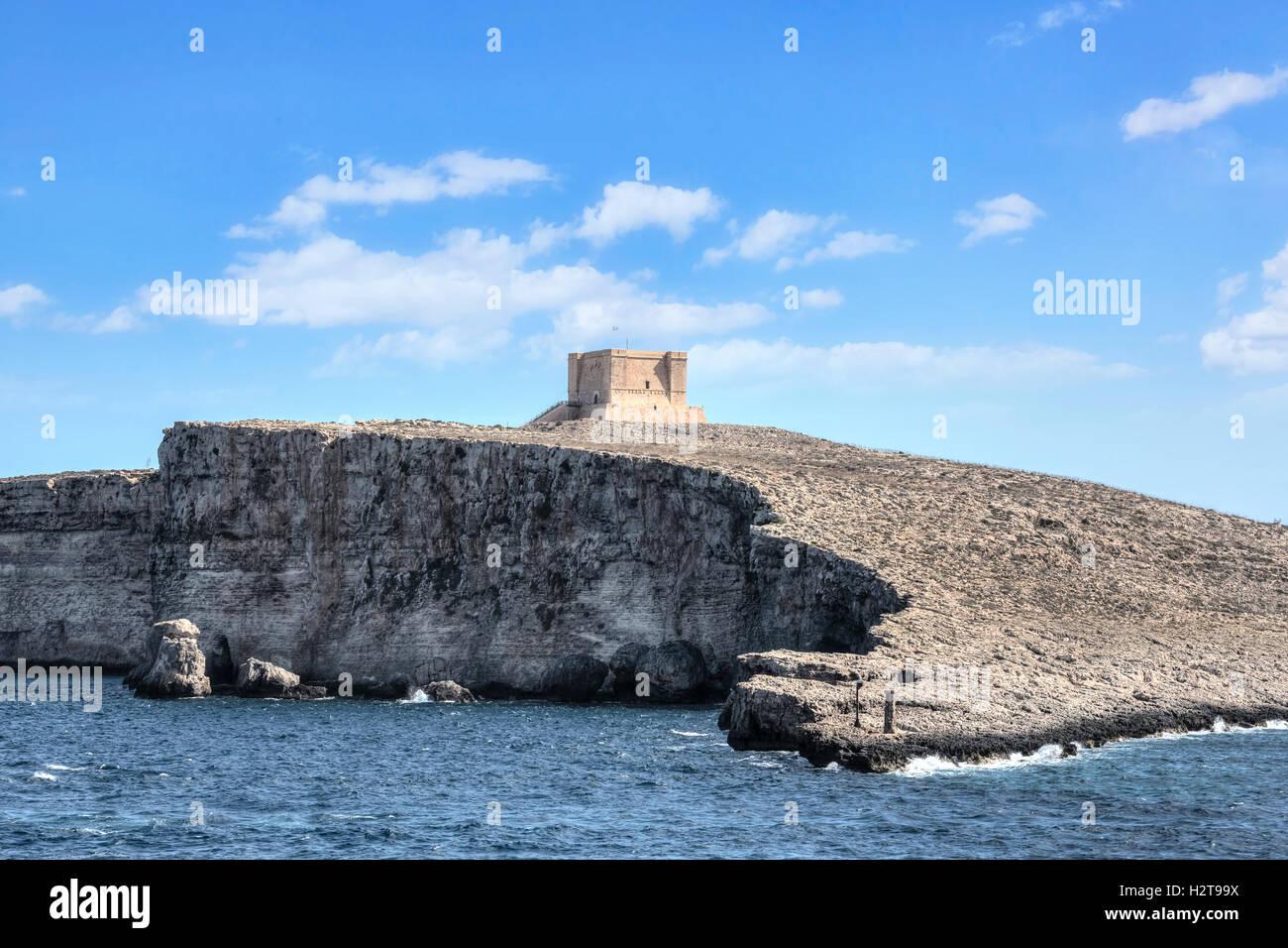 Comino Tower, Comino, Gozo, Malta - Stock Image