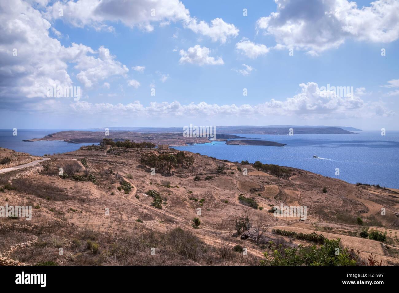 view to Comino from Qala, Gozo, Malta - Stock Image