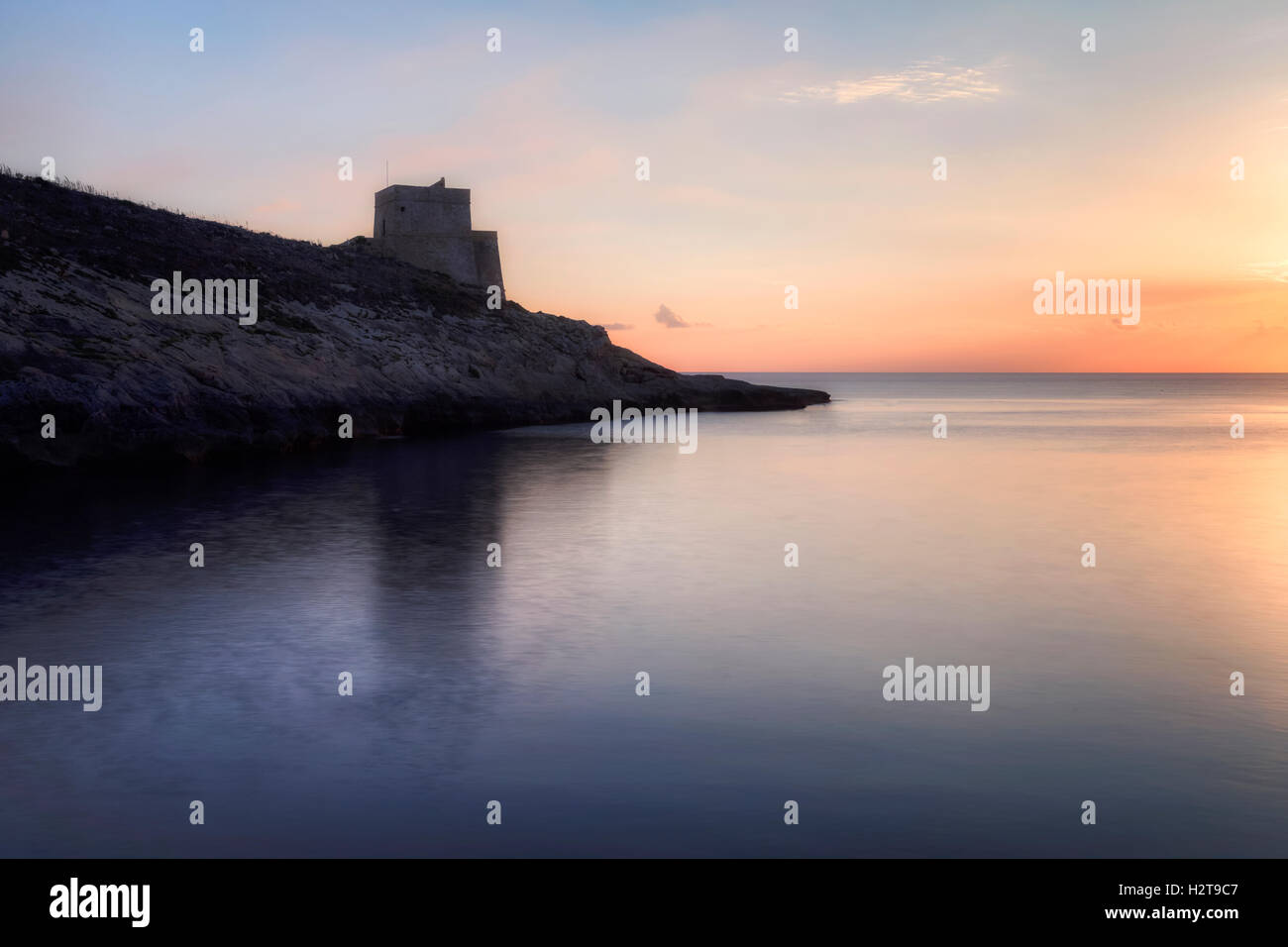 Xlendi Bay, Xlendi Tower, Gozo, Malta - Stock Image