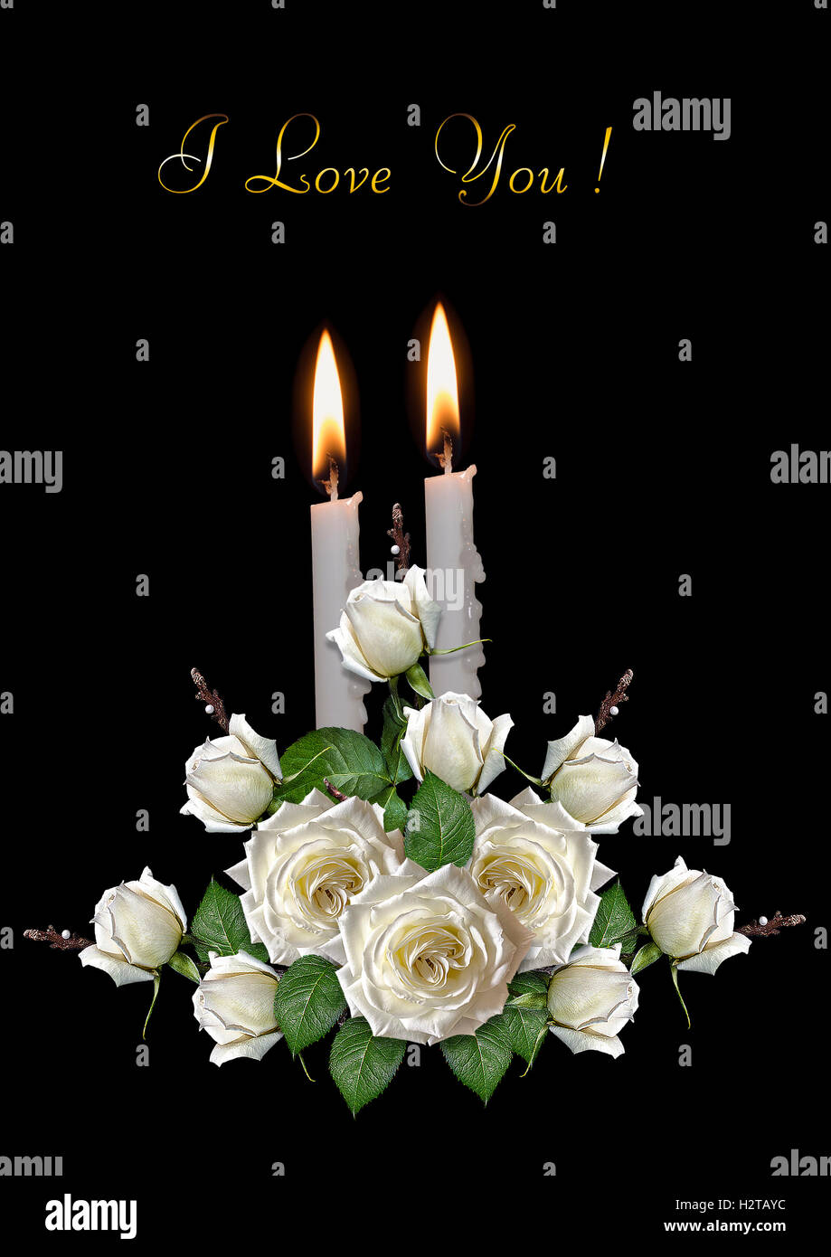 Black Greeting Card With Burning Candles And White Roses Stock Photo
