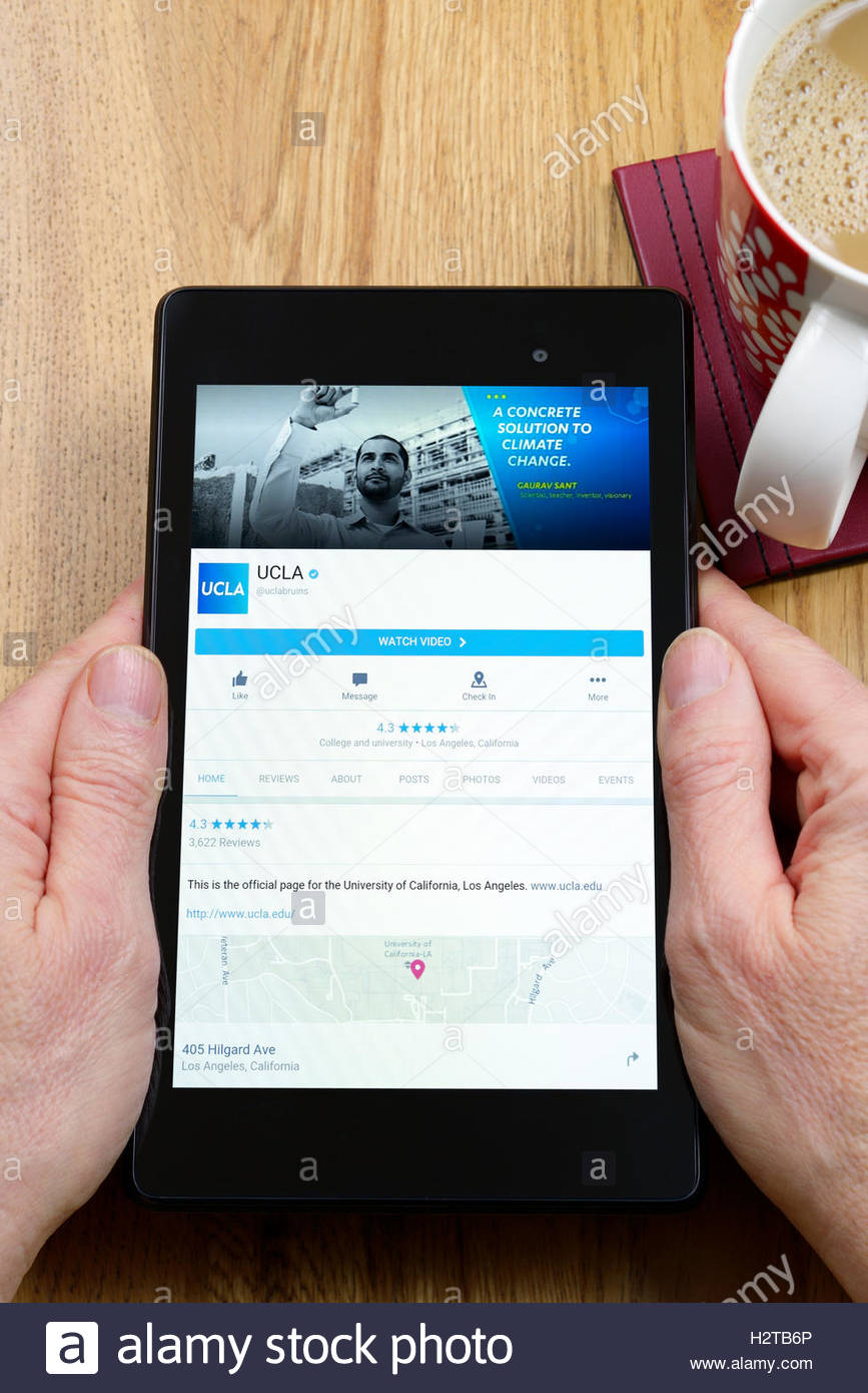 University of California, Los Angeles (UCLA) app on an android tablet PC, Dorset, England, UK - Stock Image