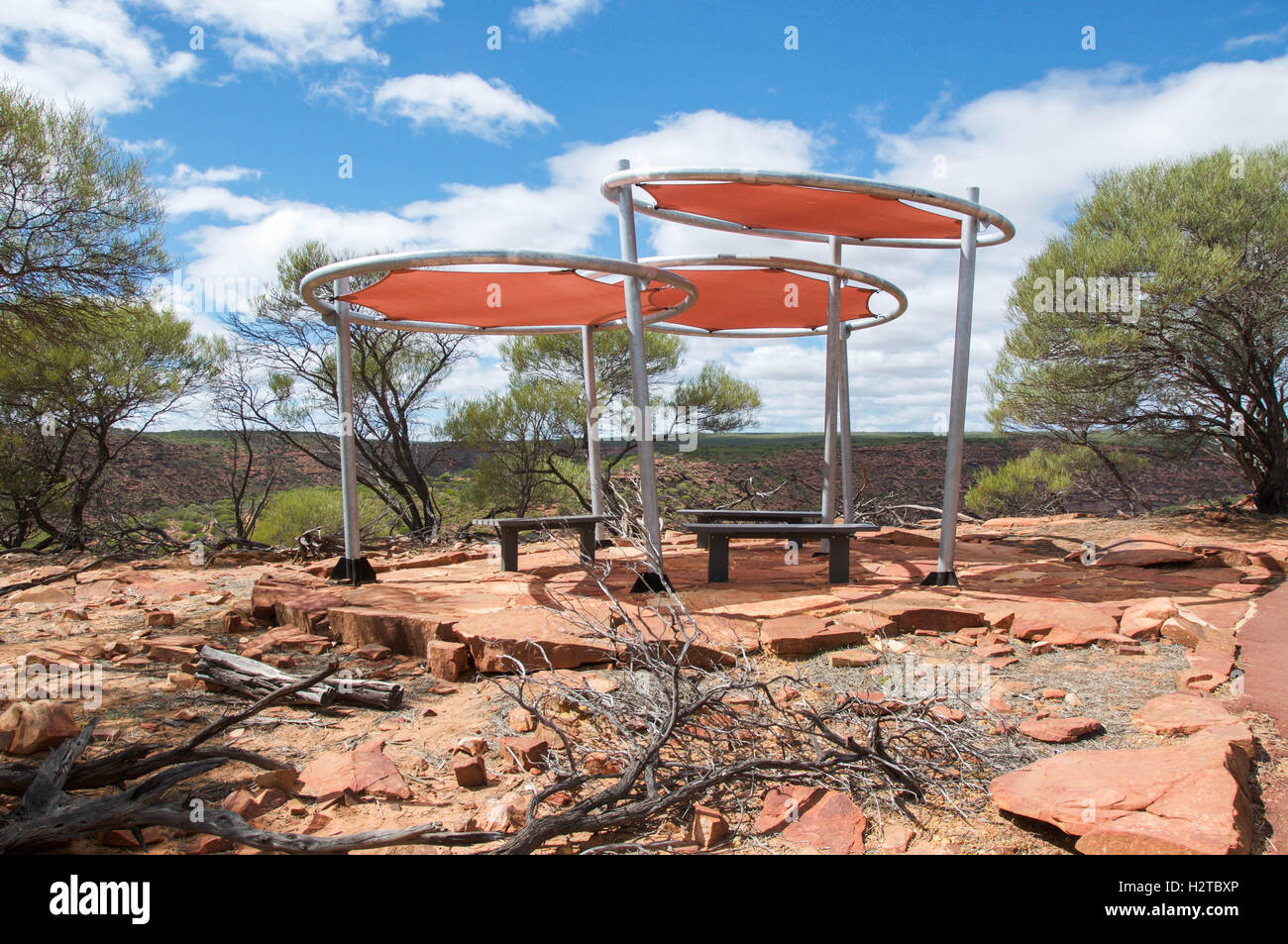 Modern Sun Shade With Benches At Kalbarri National Park