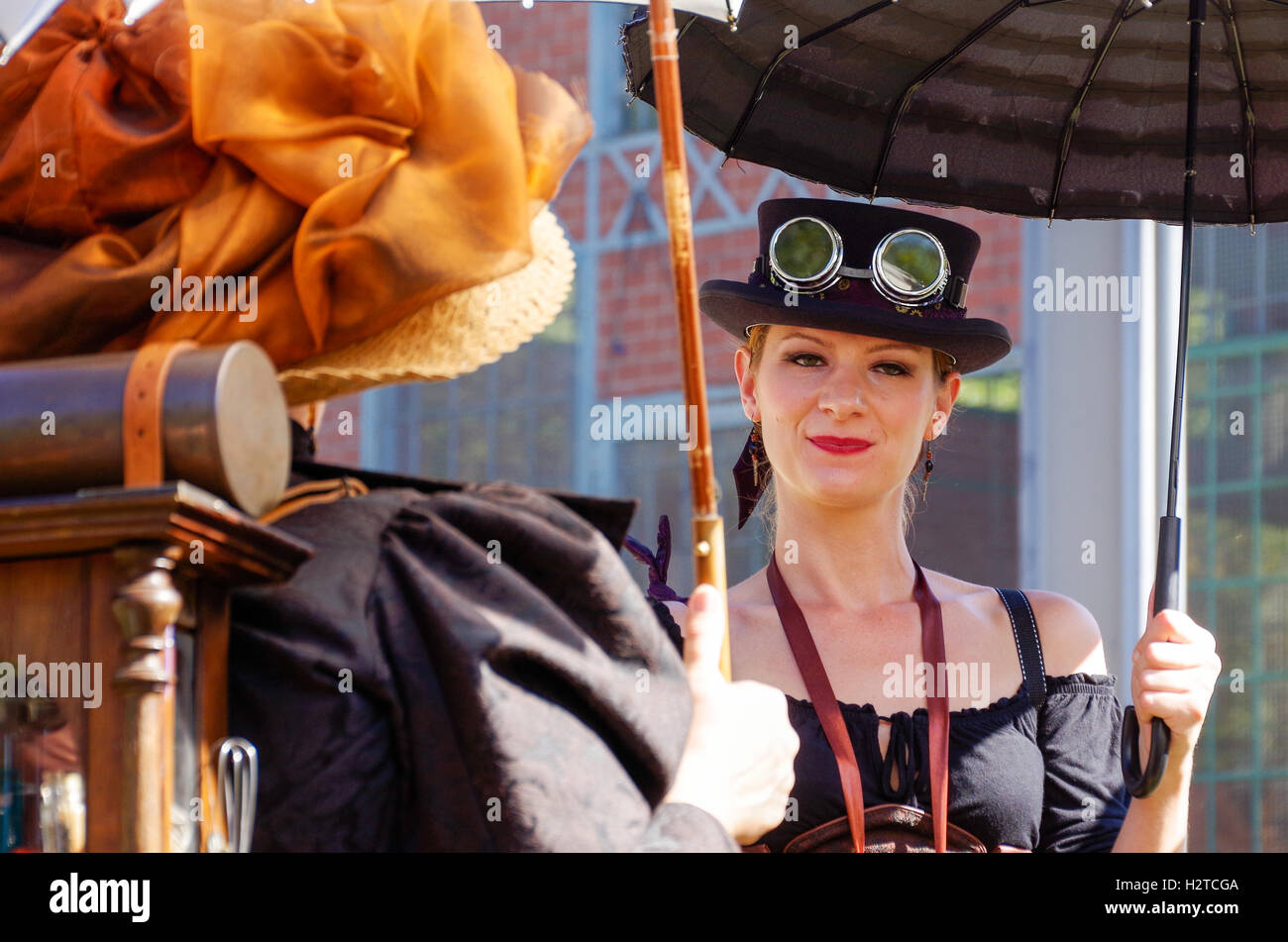 Costumed participants at the Steampunk convention Anno 1900 in Luxembourg Fond de Gras in September 2016 - Stock Image