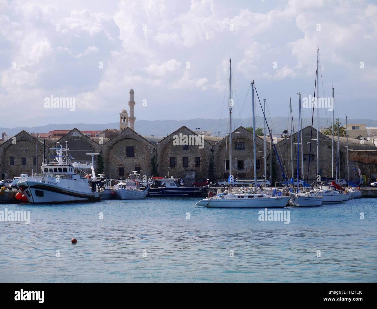 Harbor in Cahnia, Western Crete, Greece - Stock Image