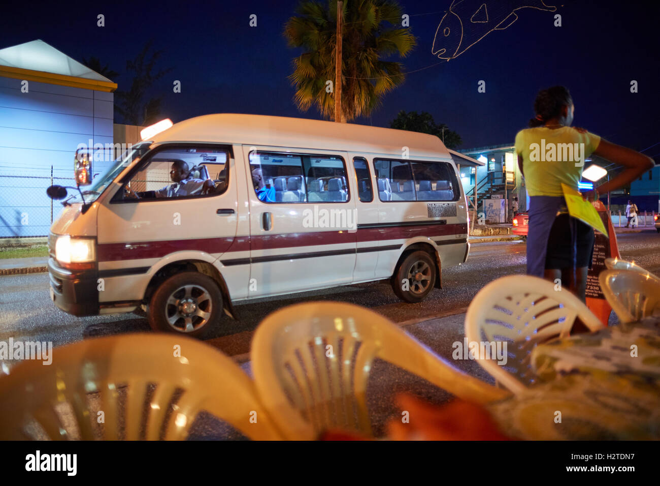 Barbados Oistins ZRs   coastal town parish Christ Church privately owned mini-vans predetermined routes boogie bus - Stock Image