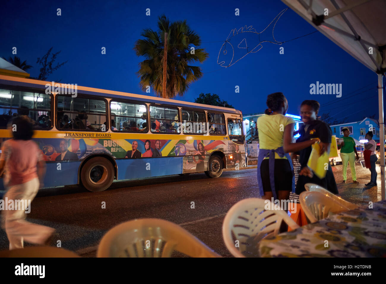 Barbados transport board bus  coastal town parish Christ Church government service blue yellow busy street Transport - Stock Image