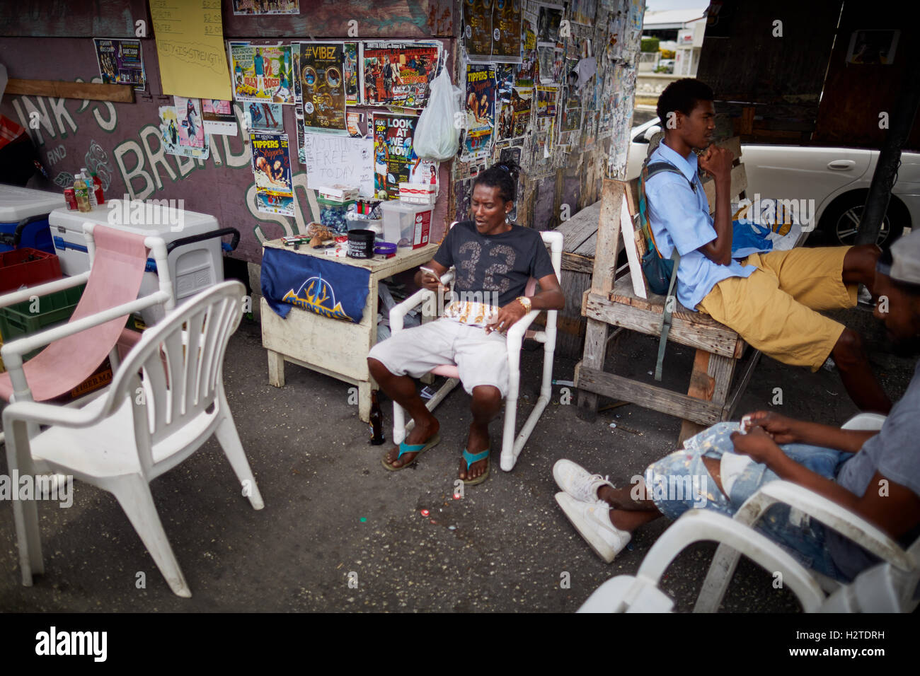 Barbados makes place businesses   Bridgetown Poor rundown rubbish scruffy deprived common poverty ghetto  un-kept - Stock Image