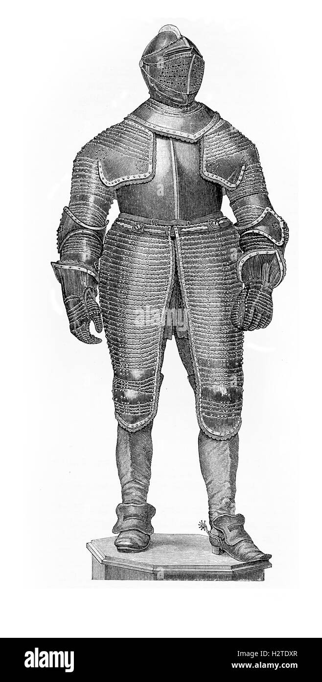 Thyrty Years War, black armor of cavalry general Johann Graf von Spork - Stock Image