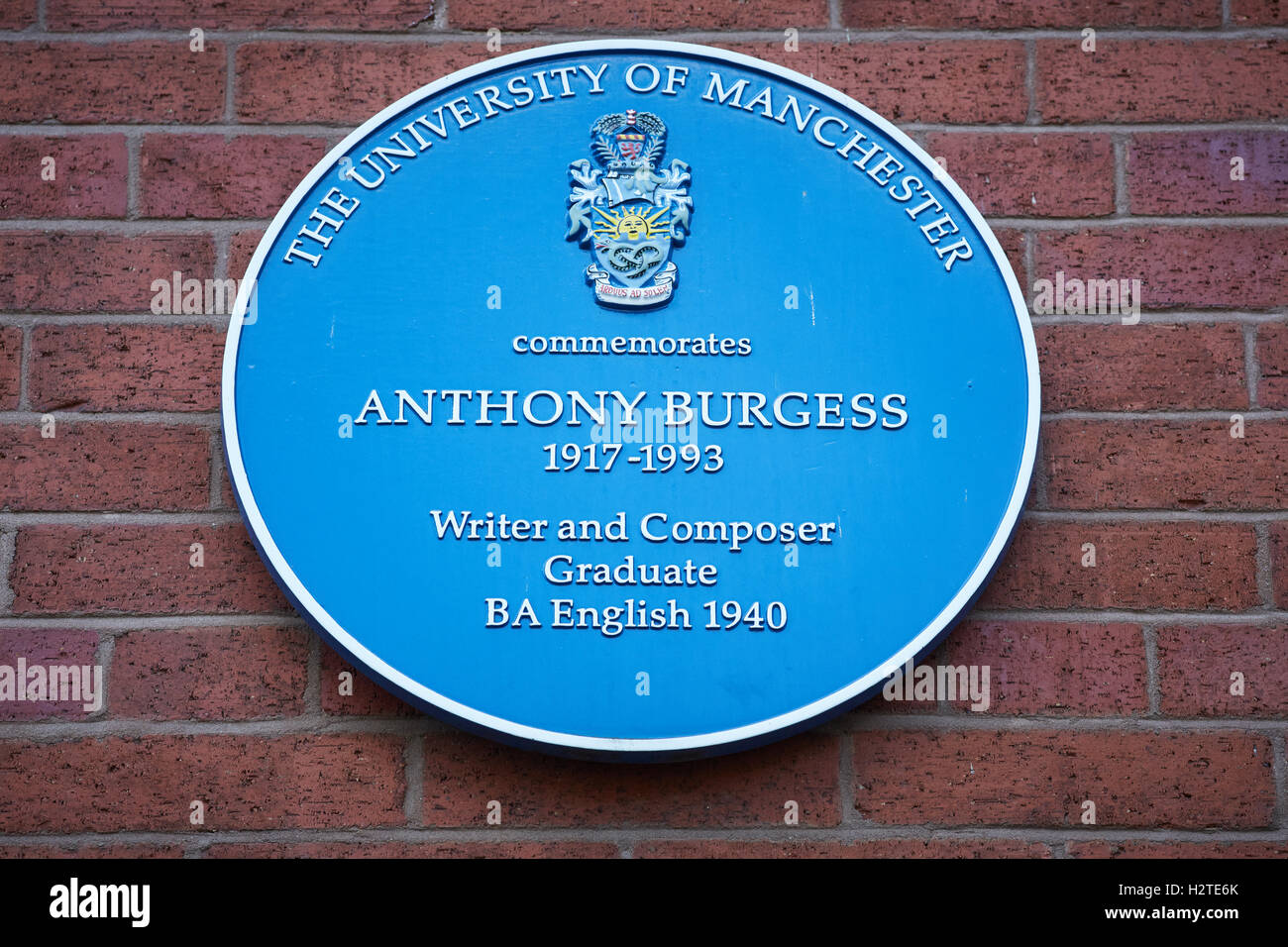 Anthony Burgess plaque blue   Manchester University writer composer mancunian commemorates commemoration graduate - Stock Image