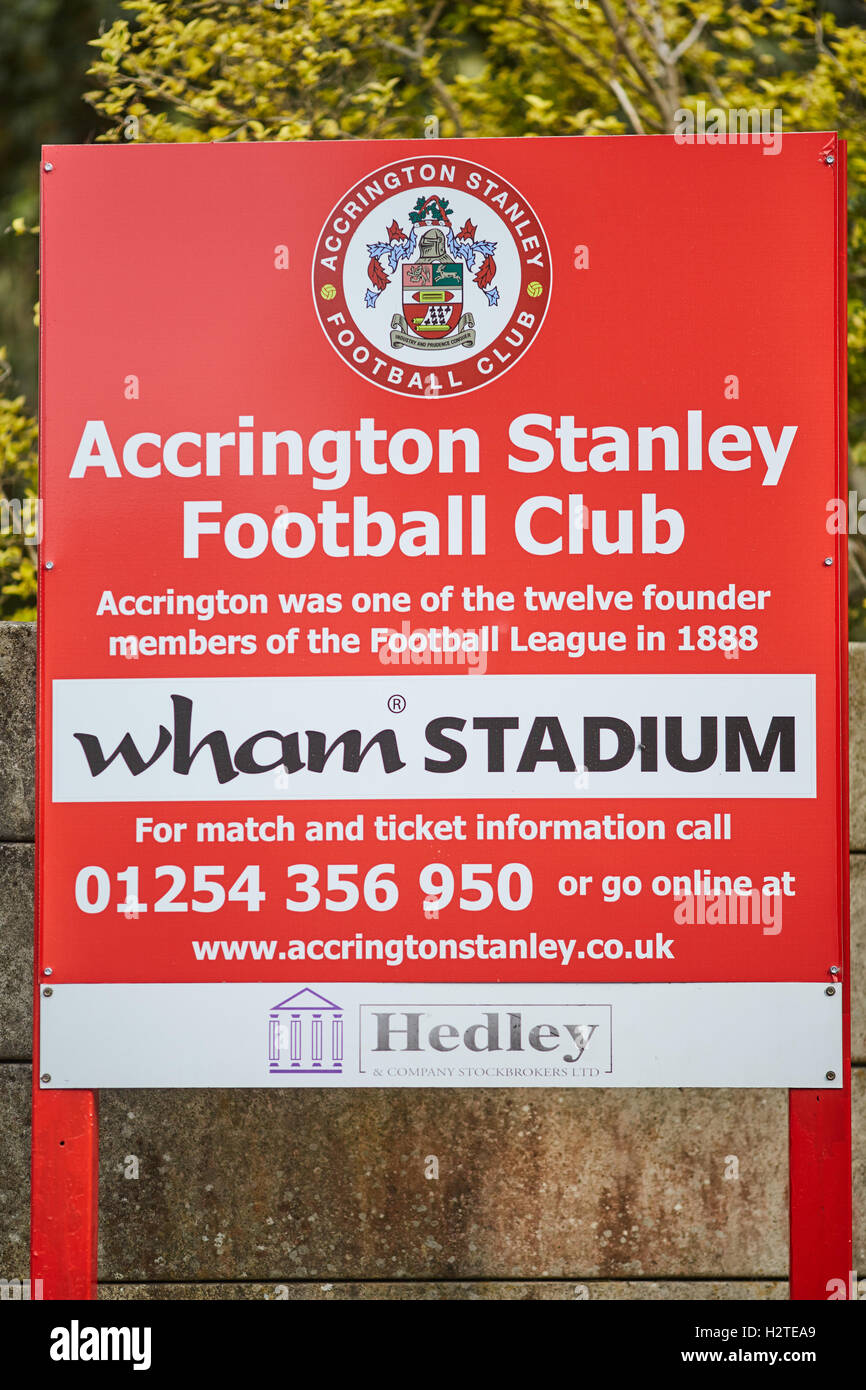 Accrington Stanley Stadium sign    Lancashire stadia venue sporting place home structure architectural architect - Stock Image